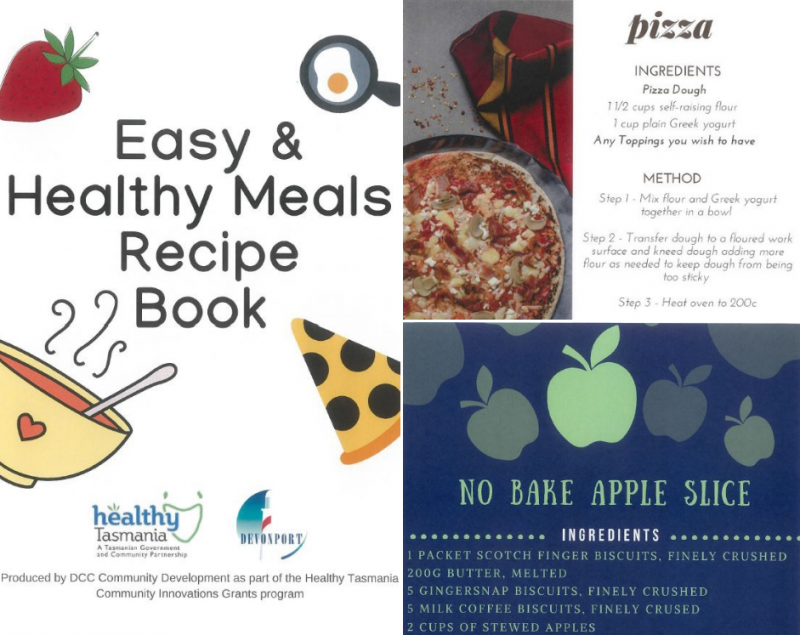 Recipe book provided to students to continue cooking healthy meals at home.