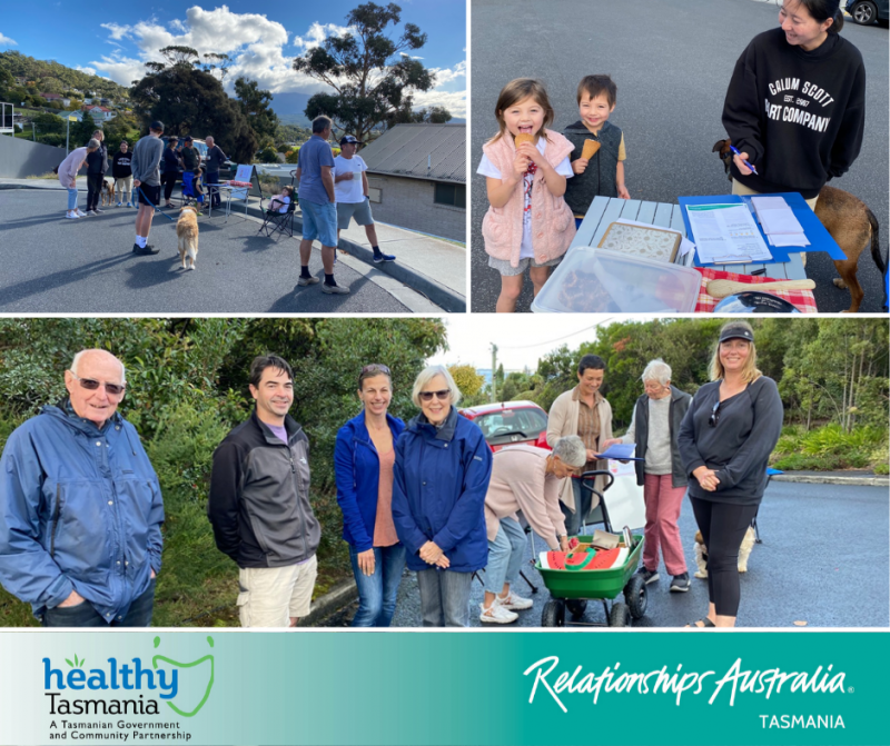 Collage of images from a community day. Smiling neighbours gathering to share conversations and morning tea with each other.
