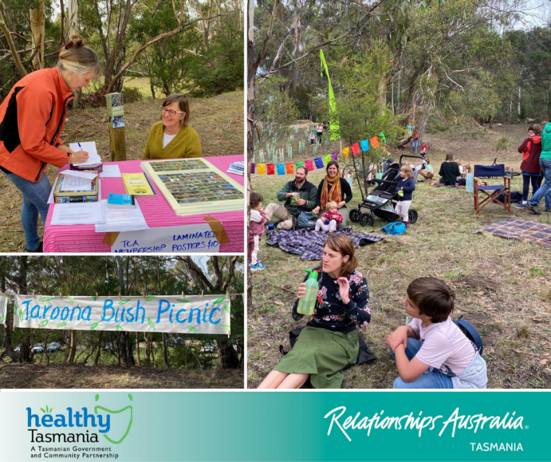 Collage of images from a bush picnic. People sitting on grass enjoying a bush picnic and accessing a stall with information.