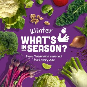 Graphic for Eat Well Tasmania's Winter What's in Season campaign, displaying seasonal foods such as cauliflower, broccoli, radish, lettuce, fennel, onion, kale, brussels sprouts, lime and walnuts.