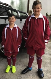 Goodwood Football Club players in their new uniforms