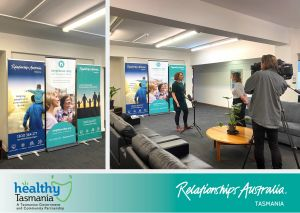 Collage of two images. The first image shows the Relationships Australia and Neighbour Day banners. The second image shows Healthy Tasmania Project Officer Christy Measham being interviewed by local media, standing in front of Relationships Australia and Neighbour Day banners.