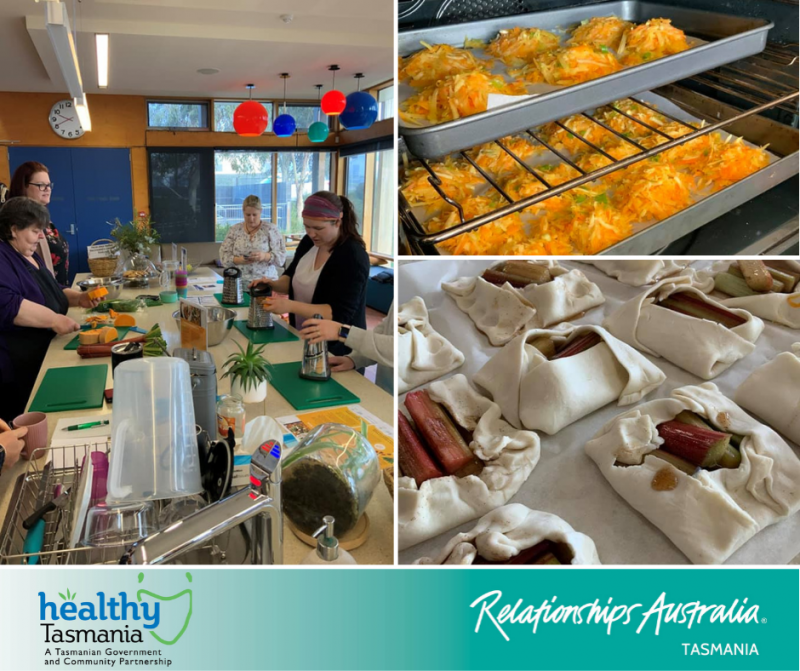 Collage of images from a community food initiative. People cooking together in a large kitchen, rhubarb tarts and pumpkin rosti.