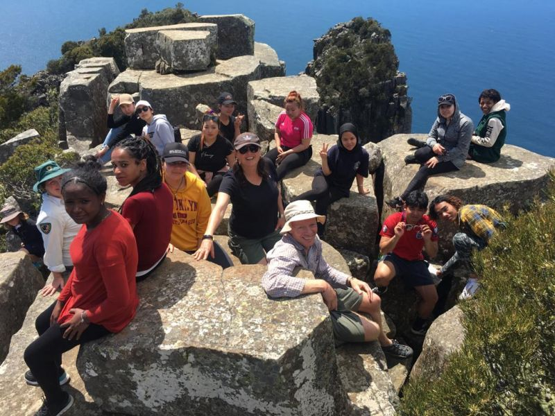 Get Outside Camp leaders on top of mountain