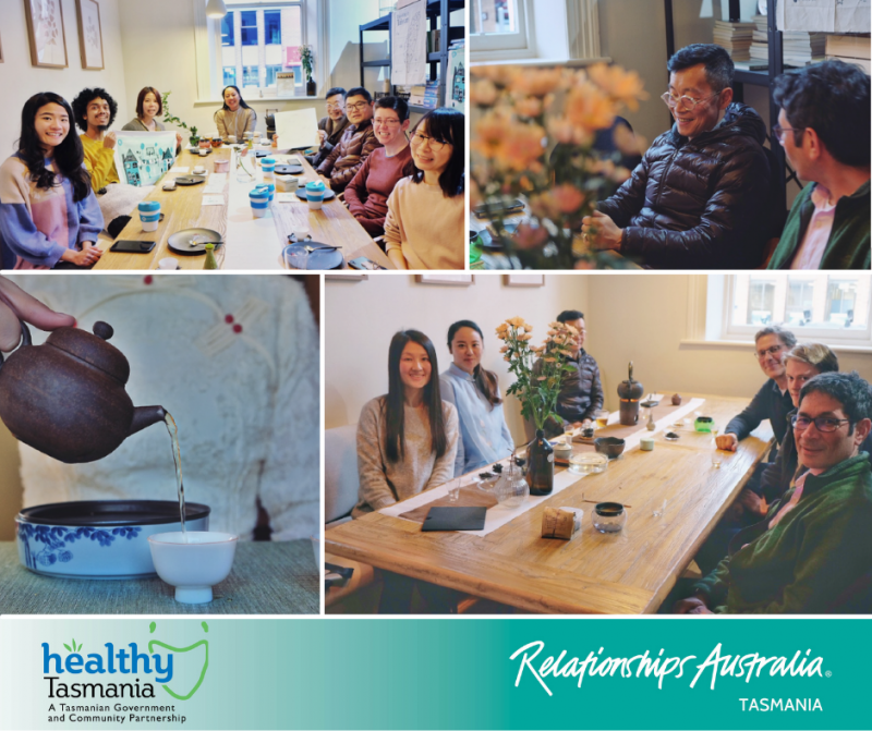 Collage of photos from A Moment of Tea event. People smiling while taking part in a tea session at a table; people are relaxed and chatting; tea being poured.