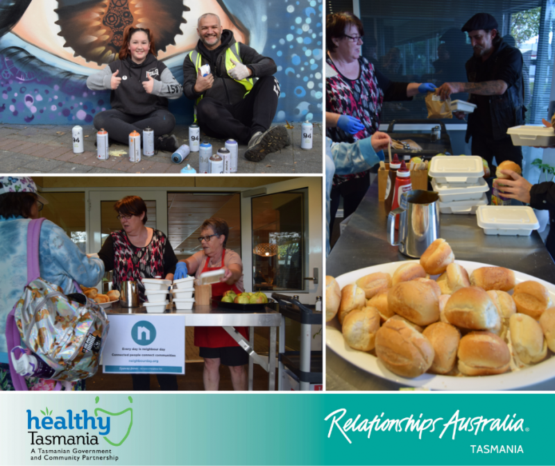 Collage of images from Glenorchy City Council's Neighbour Day initiatives. Volunteers sharing food for community members in need; local student at Cosgrove High school engaging in an art program.