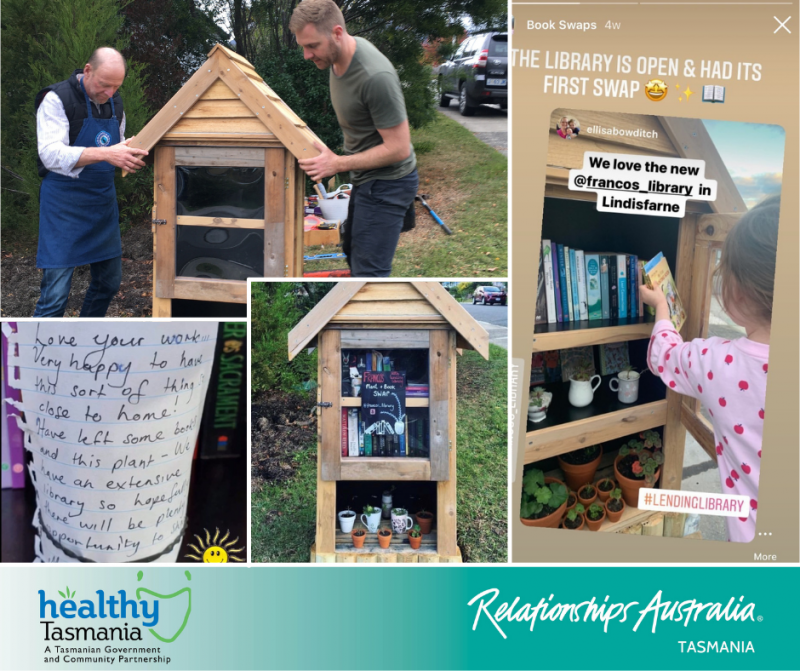 Collage of images from the creation of a lending library. A lending library being fitted; the library full of books, plants, seeds; people's kind words on a note explaining why they love the library; A young girl grabbing a book from the library.