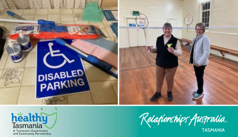 Various safety, cleaning and accessibility equipment and two community members enjoying new badminton gear in a community hall.
