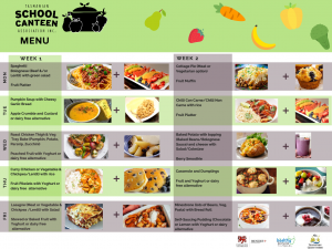 A daily menu of school lunch meals offered as part of the School Lunch Pilot. The menu has images of healthy food on offer such as soup, fruit and pancakes.